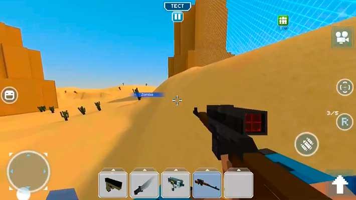 Blocky Cars Online - пустынная карта в режиме от первого лица