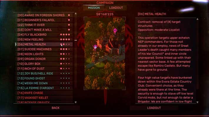 Brigador: Up-Armored Edition - меню выбора карты
