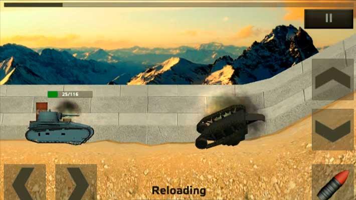 Tanks: Hard Armor - взорванный танк улетает за кадр