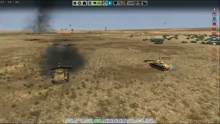 Tank Warfare: Tunisia 1943 - танки стреляют по врагам на пустынной карте