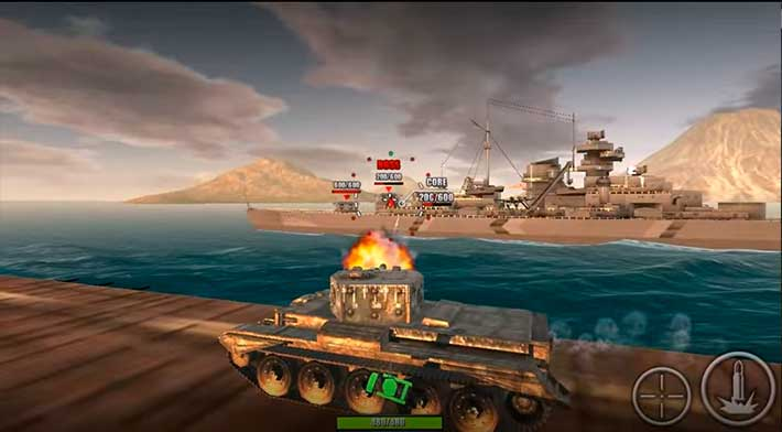 World Of Steel: Tank Force - битва с боссом-кораблем