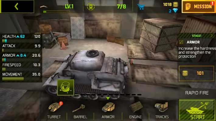 Tank Strike - гараж с танками