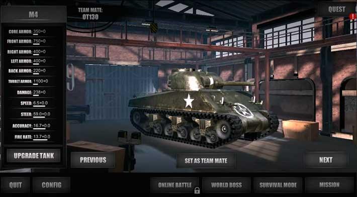 World Of Steel: Tank Force - классический ангар с танками